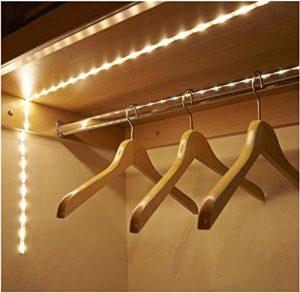 Covermason 1M LED Strip Licht Streifen Wireless PIR Motion Sensor Für Kleiderschrank Kabinett