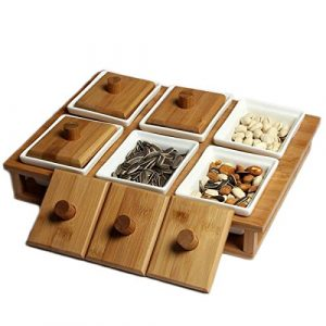 Mutter und Trockenfutter Buffet Server–Holz Keramik Fusion
