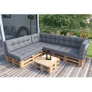 Palettenkissen Palettenmöbel Ecksofa Couch Sitzecke inkl. Europalette Palettensofa Palettenpolster Kissen Sofa Polster Indoor Outdoor (Grau)