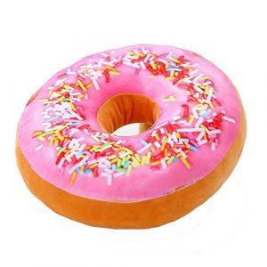 AOLVO rund Donuts Sitz Rücken Kissen gefüllt Einsatz Filler Füllung Überwurf Kissen Plüsch PLAY Spielzeug Puppe für Zeichnen Living Essen Familie Platz Bürostuhl Auto Sitz, Pink+orange, 40cm/15.7 inch; Thickness: 8cm/3.15 inch