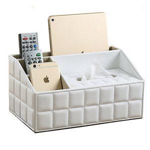 VANCORE 4 Fächer PU Leder Fernbedienung Halter Schreibtisch Supplies Organizer Aufbewahrungsbox White-Lattice