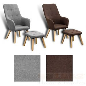 Fernsehsessel + Hocker TV Sessel Lounge Relaxsessel Polstersessel Lesesessel (Grau)