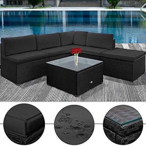 Poly Rattan Lounge Set Anthrazit Schwarz XXL ✔ 20cm dicke Rückenkissen ✔ Einzelelemente flexibel kombinierbar ✔ UV-beständiges Polyrattan ✔ Sitzgarnitur Couch Sitzgruppe Gartenmöbel Terassenmöbel