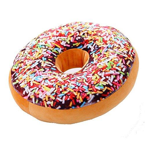 AOLVO rund Donuts Sitz Rücken Kissen gefüllt Einsatz Filler Füllung Überwurf Kissen Plüsch PLAY Spielzeug Puppe für Zeichnen Living Essen Familie Platz Bürostuhl Auto Sitz, Ranbow Color, 40cm/15.7 inch; Thickness: 8cm/3.15 inch