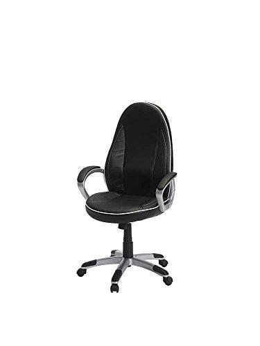 PKLine Bürostuhl STILL in schwarz mit weißen Nähten Drehstuhl Schreibtischstuhl