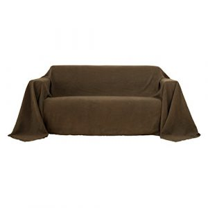 Deconovo Sofa Überwurf Sesselbezug Bettüberwurf Wildleder Optik 210×280 cm Braun