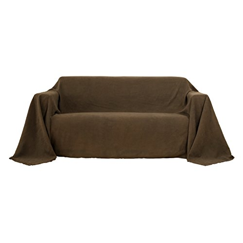 Deconovo Sofa Überwurf Sesselbezug Bettüberwurf Wildleder Optik 210x280 cm Braun