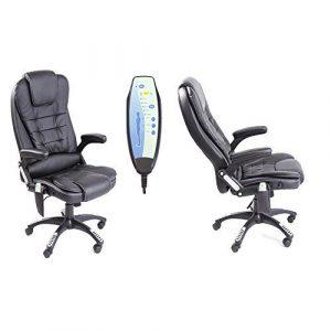 Neo Exekutive Leder Spiele Büro Computer-schreibtisch Drehgelenk Verstellbare lehne Stuhl oder Massage Liegestuhl erhältlich in 4 Farben – Massage – Schwarz