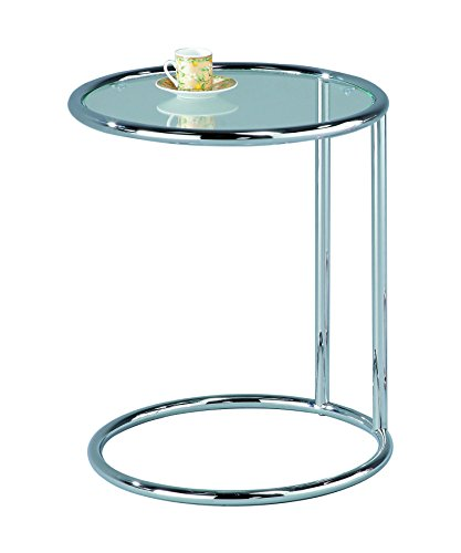 ASPECT Mia Round Side Table/Coffee Table/End Table/Sofa Table, Metal, Chrome/Clear