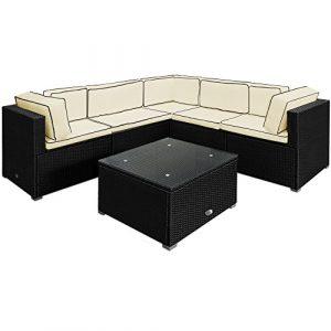 Deuba® Poly Rattan Lounge Set XXL Schwarz ✔15cm dicke Rückenkissen Creme ✔bequeme Armlehnen ✔UV-beständiges Polyrattan ✔Tisch inkl. Glasplatte – Couch Sitzgarnitur Sitzgruppe Gartenlounge Gartenmöbel