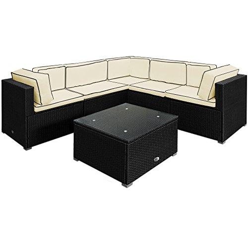 Deuba® Poly Rattan Lounge Set XXL Schwarz ✔15cm dicke Rückenkissen Creme ✔bequeme Armlehnen ✔UV-beständiges Polyrattan ✔Tisch inkl. Glasplatte - Couch Sitzgarnitur Sitzgruppe Gartenlounge Gartenmöbel