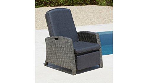 baumarkt direkt Relaxsessel, Polyrattan, verstellbar, inkl. Auflagen, grau 1 Stuhl, grau