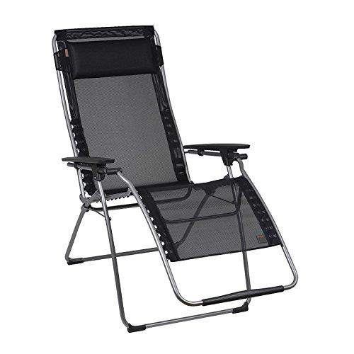 Lafuma Relax-Liegestuhl, klappbar und verstellbar, Futura Batyline, schwarz, 83 x 71 x 113 cm