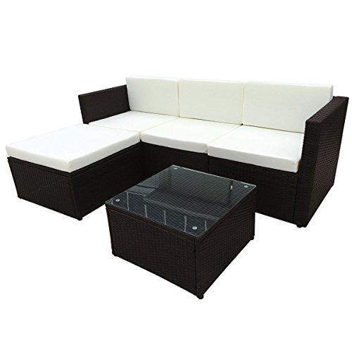 POLY RATTAN Sitzgruppe Essgruppe Set - Cube Sofa-Garnitur Gartenmöbel Lounge Farbwahl (3er Garnitur, Braun)