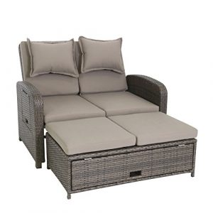 greemotion Bahia Rondo 3-in-1 braun bicolor, inkl. Auflagen in Sandfarben, Gartensofa mit zwei Ablagetabletts, 6-fach verstellbare Rückenlehne, Lounge aus witterungsbeständigem Poly-Rattan