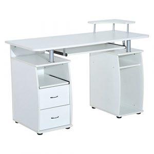 Homcom Holz Büro Computer PC-Schreibtisch Desktop Home Möbel Workstation W/Schubladen Ablagen Tastatur Regal (white-lilac)