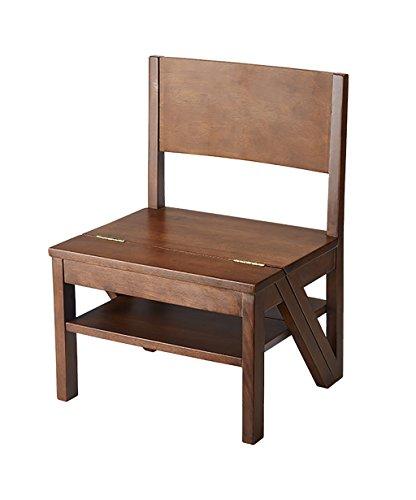 WUFENG Multifunktions-Nussbaum-Holzstühle Faltbare 3-lagige Massivholz Treppenhaus Hocker Stufenhocker