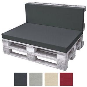 Beautissu Rückenkissen ECO Pure Palettenkissen Palettenauflage Palettenpolster für Europaletten 120x40x8cm Graphit-Grau