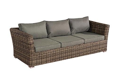 3er Sofa 3-Sitzer Sousse Poly-Rattan ~ grau-meliert mit Kissen in eisengrau