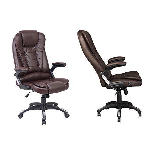 Neo Exekutive Leder Spiele Büro Computer-schreibtisch Drehgelenk Verstellbare lehne Stuhl oder Massage Liegestuhl erhältlich in 4 Farben - Lehnstuhl - Braun
