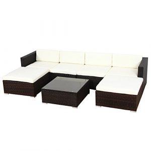 Svita Lugano POLY RATTAN Lounge Garten-Set XXL Sofa-Set Garnitur Gartenmöbel Couch-Set (XXL, Braun)