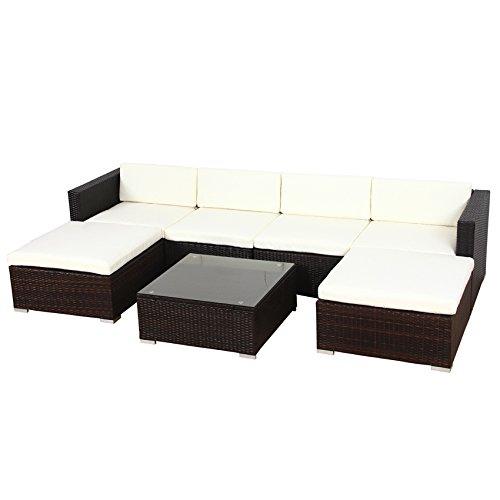 Svita Lugano POLY RATTAN Lounge Garten-Set XXL Sofa-Set Garnitur ...