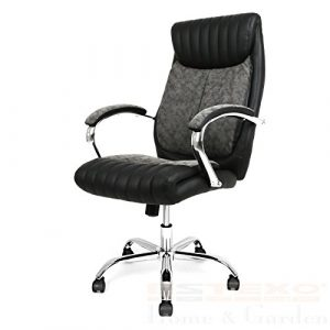 Estexo® Bürostuhl Schwarz Kunstleder Chefsessel Drehstuhl Schreibtischstuhl