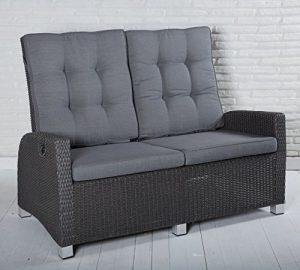 Gartensofa 2 Sitzer Rocking in grau mit Auflagen und einzeln verstellbaren Rückenlehnen für Garten, Terrasse oder Balko – Gartenmöbel Zweisitzer Loungemöbel Sofa Couch Lounge