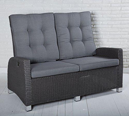 Gartensofa 2 Sitzer Rocking in grau mit Auflagen und einzeln verstellbaren Rückenlehnen für Garten, Terrasse oder Balko - Gartenmöbel Zweisitzer Loungemöbel Sofa Couch Lounge