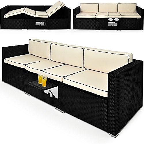 2in1 Poly Rattan Lounge Liege 6-fach verstellbar mit integriertem ausklappbarem Tisch und 20cm dicke Rückenpolster Gartenliege Sonnenliege Relaxliege Rattanliege Liege Couch Sofa