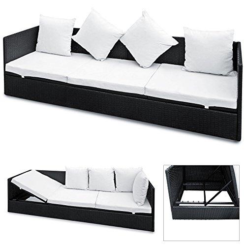 Polyrattan Liege mit Rückenlehne schwarz 7cm dicke Sitzauflagen verstellbarer Liegefläche