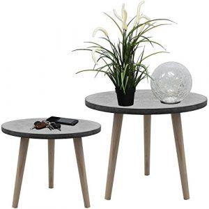 2er Set Satztische rund 39/49cm, Grau/Natur, Couchtische Telefontische Serviertische Blumentische Beistelltische aus Holz