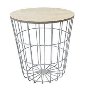 Beistelltisch rund 40xH43cm, weißer Metallkorb mit abnehmbarer Holzplatte – Aufbewahrungskorb Couchtisch Blumentisch Loungetische