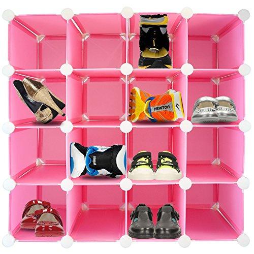 Schuhregal für 16Paar Schuhe, zusammensteckbar, Kunststoff mit verstärktem Stahl-Rahmen, Würfelform rose