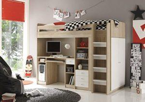 AVANTI TRENDSTORE – Hochbett mit integriertem Schreibtisch aus Eiche Sonoma / weiß Dekor, ca. 204x160x112 cm