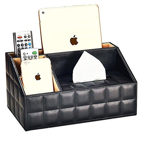 VANCORE 4 Fächer PU Leder Fernbedienung Halter Schreibtisch Supplies Organizer Aufbewahrungsbox Black-Lattice