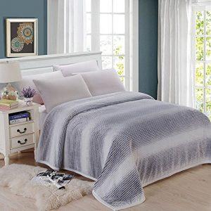 shinemoon Luxus Super Sofa Home warme Decke Überwurf für Bett, Couch Outdoor-Reise Camping Decken für kalte, 100 % Polyester, grau/weiß, 180x200cm
