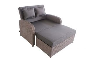 greemotion 3-in-1 Rattan Gartensofa Bali in Grau – 2-Sitzer Lounge Sofa & Bett, Rückenlehne  verstellbar – Loungemöbel ausziehbar mit Auflagen für Terrasse & Garten