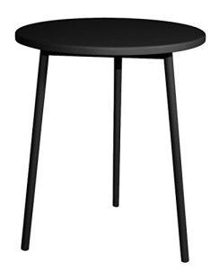 Dynamic24 Metall Holz Beistelltisch Ø 40cm Couchtisch Wohnzimmer Lounge Sofa Tisch Möbel (Schwarz)