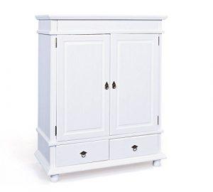 esidra Eureka Kleiderschrank 2Türen und 2Schubladen, Holz, Weiß, 140x 116x 57cm