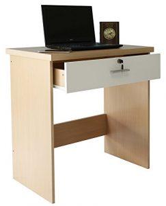 Absolute Deal Computer Schreibtisch mit Schloss und Schlüsselschublade für Home Office, Holz, Buche / Weiß