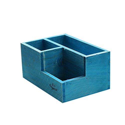 Hosaire 1x Aufbewahrungsbox Schreibtisch Bleistift-halter Holz Storagebox Multifunktion Make-up Kosmetik Aufbewahrungskiste 3 Gitter Pen-holder Aufbewahrungs-Box