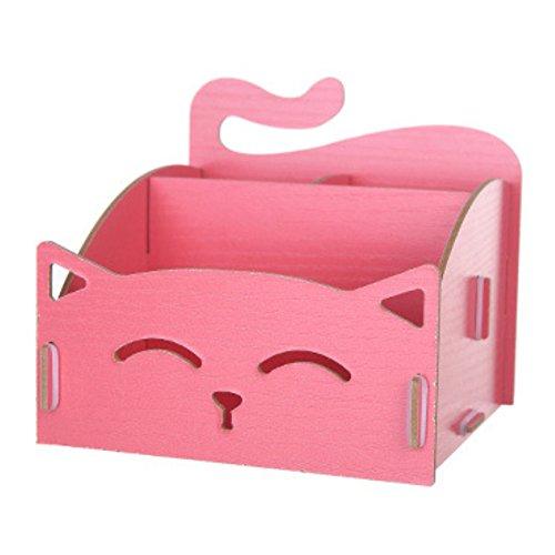 Cute Cat Hollow Form Aufbewahrungsbox aus Holz DIY Büro Pen Jewelry Schreibtisch Organizer, holz, wassermelone, Einheitsgröße