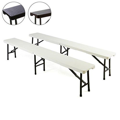 Nexos Partybank 2er Set Klappbank Rattan-Optik 180 x 25 x 43 cm Bierbank bis 200 kg Gartenbank Garnitur robust stabil wetterfest Farbe wählbar weiß schwarz braun (weiß)