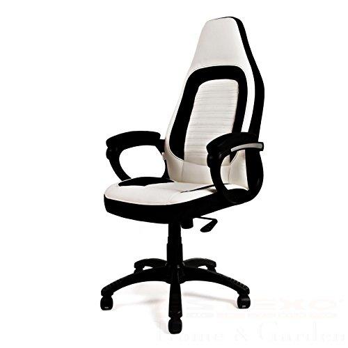 Bürostuhl Schreibtischstuhl Design Drehstuhl Stuhl weiß / anthrazit Drehsessel