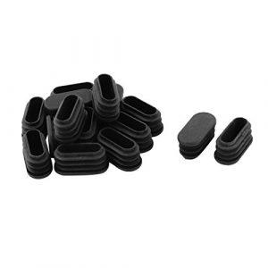 sourcingmap® 15Stk Schule Plastik Ovale Stuhl Bein Sbdeckung Schlaucheinsatz Schwarz 32x15mm