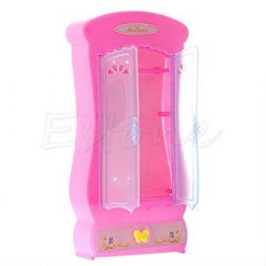 kofun-realike Closet Kleiderschrank für Barbie Puppe Mädchen Spielzeug Prinzessin Schlafzimmer Möbel 1Stück Pink
