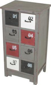VARILANDO Kommode mit 8 Schubladenaus Holz im Antik-Look Apothekerschrank Vintage