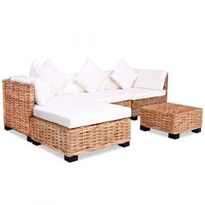 Festnight 18-tlg. Lounge Sofa Gartensofa Lounge Set Loungemöbel Loungeset Gartenmöbel Rattan Natur