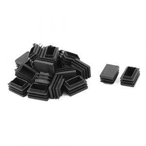 sourcingmap® 21Stk Familie Kunststoff Rechteck Stuhl Fußabdeckung Stopfen Schwarz 30mm x 20mm